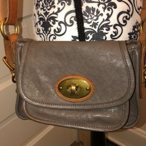Fossil Gray Leather crossbody very good condition